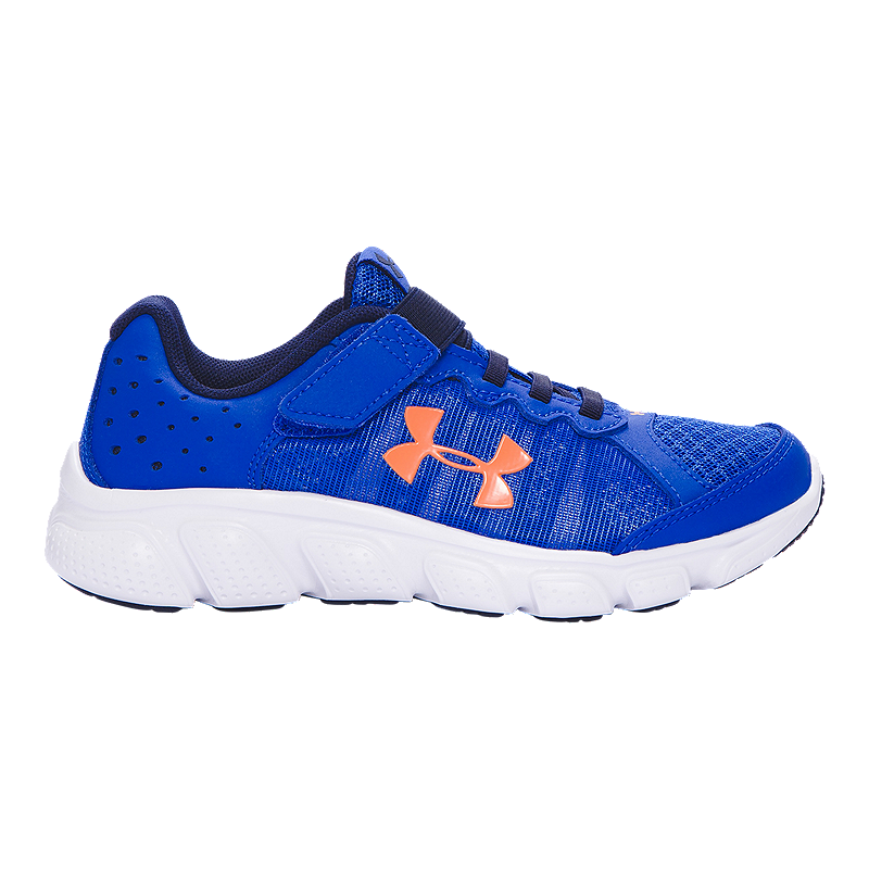 6e06422c8d Under Armour Kids  Assert 6 AC Preschool Running Shoes - Blue White Orange