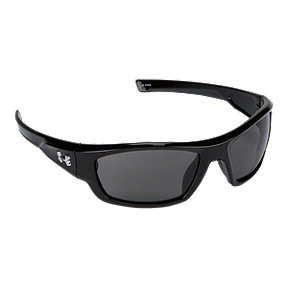 Under Armour Force Sunglasses- Shiny Black with Grey Lenses