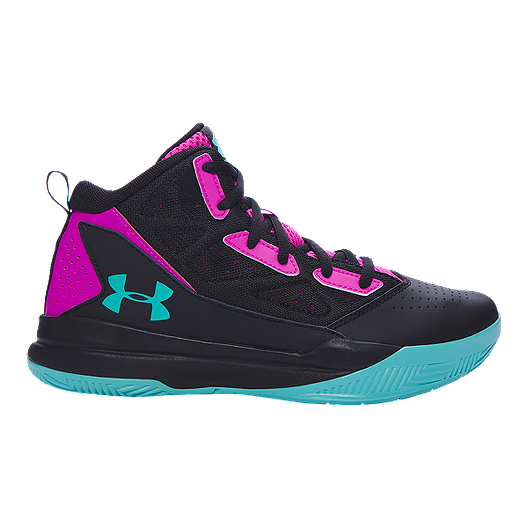 a57fa0edd90a Under Armour Kids  Jet Edge Mid Grade School Basketball Shoes -  Black Pink Teal