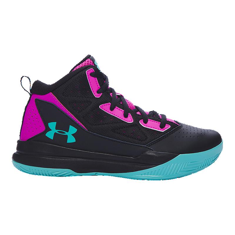 Under Armour Kids' Jet Edge Mid Grade School Basketball Shoes - Black/Pink/Teal | Sport Chek