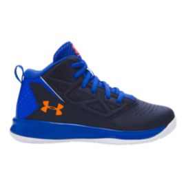 Under Armour Kids' Jet Edge Mid Preschool Basketball Shoes - Blue/Navy/Orange