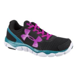 Under Armour Girls' Engage BL Preschool Running Shoes - Black/Teal/Pink