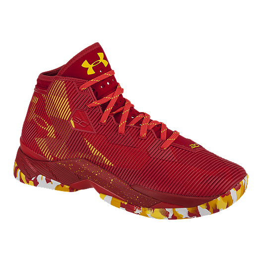 fa36cd22e44 Under Armour Men s Curry 2.5 Basketball Shoes - Red Yellow