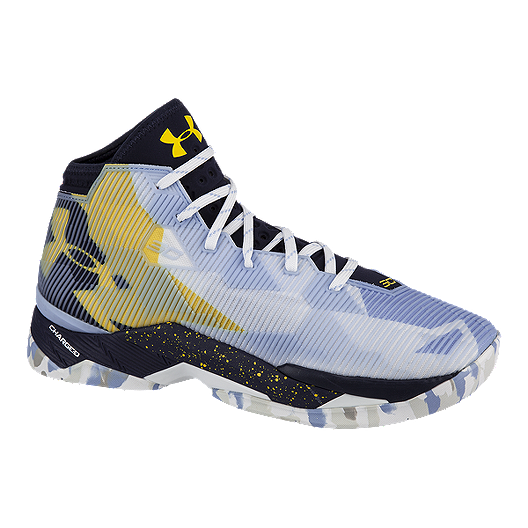 c293456999d Under Armour Men s Curry 2.5 Basketball Shoes - Light Blue  Pattern Yellow Black