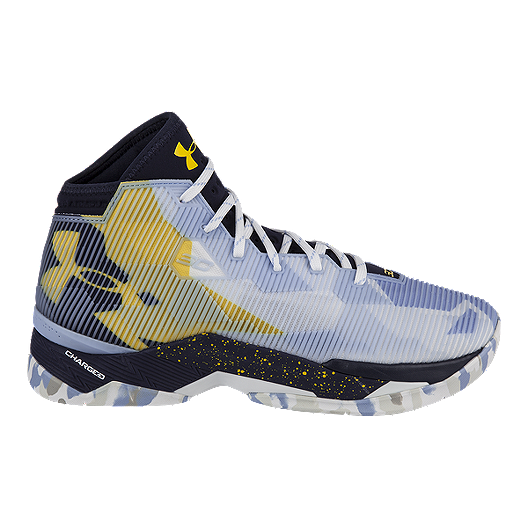 dfb59ac4c97 Under Armour Men s Curry 2.5 Basketball Shoes - Light Blue Pattern Yellow  Black