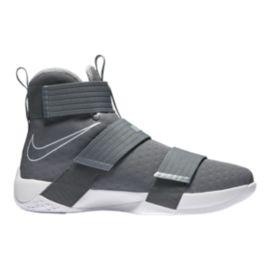 Nike Men's LeBron Soldier 10 Basketball Shoes Grey/White Sport Chek
