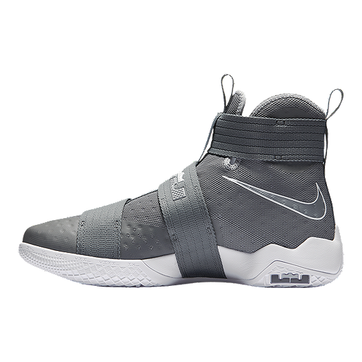 reputable site 1bc8d 73a6c Nike Men's LeBron Soldier 10 Basketball Shoes - Grey/White ...