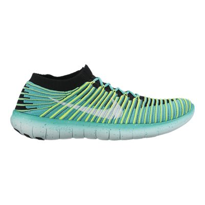 Nike Women's Free RN Motion FlyKnit Running Shoes - Teal Green/Volt Green/Black