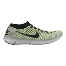 Nike Men's Free RN Motion FlyKnit Running Shoes - Grey/Volt Green/Black