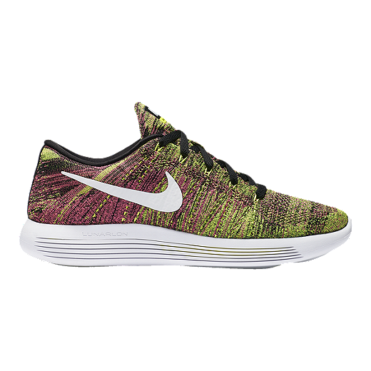 new product 52afb 5ec64 Nike Men's LunarEpic Low FlyKnit Running Shoes - Volt/Pink/White