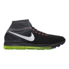 Nike Men's Zoom All Out FlyKnit Running Shoes - Black/Grey/Green