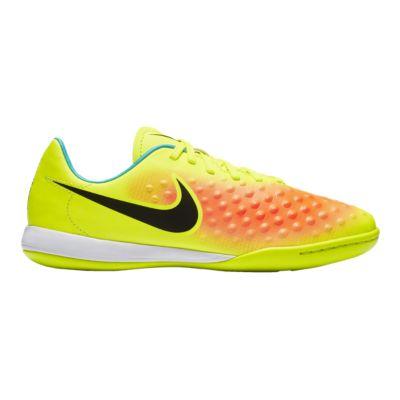 Nike Kids\u0027 Magista Opus II IN Indoor Soccer Shoes - Yellow/Orange/Teal