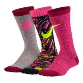 Nike Graphic Lightweight Cotton Girls' Crew Socks - 3-Pack