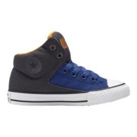 Converse Kids' High Street HI Casual Shoes - Grey/Blue/Orange