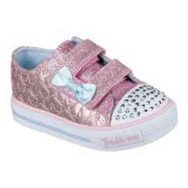Skechers Toddler Girls Twinkle Toes Shuffles StarLight Casual Shoes - Pink