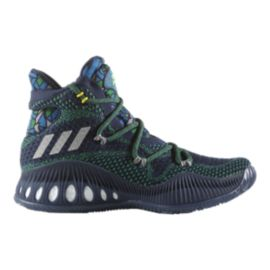 adidas Kids' Crazy Explosive PrimeKnit J Grade School Basketball Shoes - Navy/Grey/Green