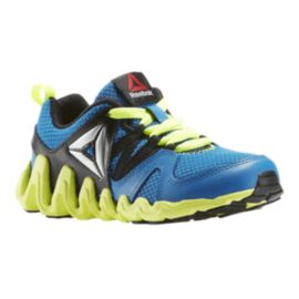 Reebok Kids' Zig Big-N-Fast Fire Preschool Running Shoes - Blue/Black/Yellow