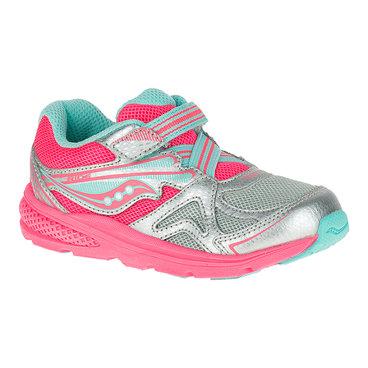 8964a85691 Saucony Toddler Girls Baby Ride Wide Running Shoes - Silver/Coral ...