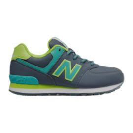 New Balance Girls' 574 Grade School Casual Shoes - Black/Aqua