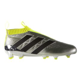adidas Men's Ace 16+ PureControl FG Outdoor Soccer Cleats- Silver/Black/Yellow