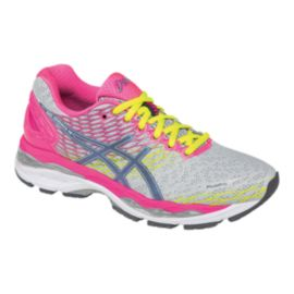ASICS Women's Gel Nimbus 18 Running Shoes - Silver Grey/Pink/Yellow