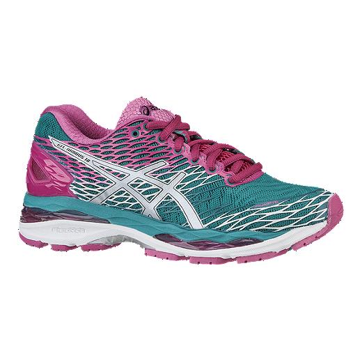 5918ff5cbbb55 ASICS Women's Gel Nimbus 18 Running Shoes - Turquoise Blue/Pink
