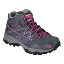 The North Face Girls' HedgeHog Hiker Mid Waterproof Hiking Boots - Grey/Purple