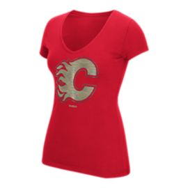 Calgary Flames Oil Foiled Logo Women's Tee