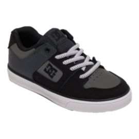 DC Kids' Pure Elastic Grade School Skate Shoes - Grey/Black