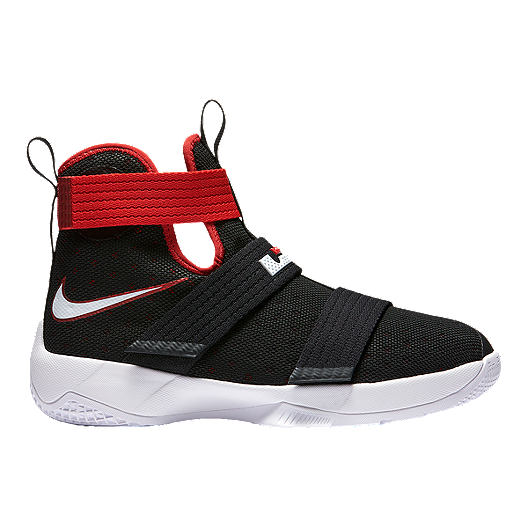 9f6a615ad87 Nike Kids  LeBron Soldier 10 Grade School Basketball Shoes - Black Red
