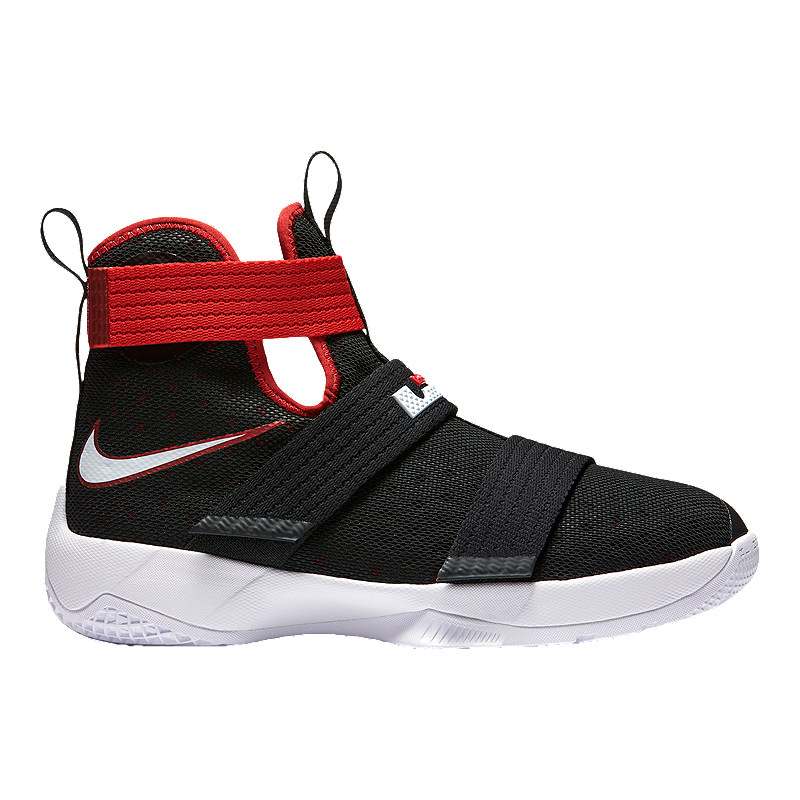 defd3bb3bed Nike Kids  LeBron Soldier 10 Grade School Basketball Shoes - Black Red