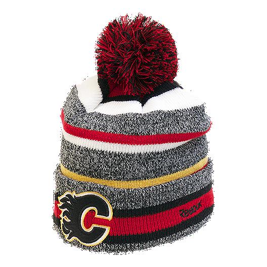 bf5ba069d27 Calgary Flames CCM Fleece Pom Knit Beanie