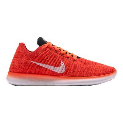 Nike Men's Free RN FlyKnit Running Shoes - Orange/White