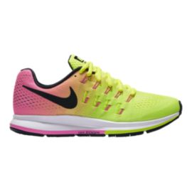 Nike Women's Air Zoom Pegasus 33 Unlimited Running Shoes - Volt Green/Pink