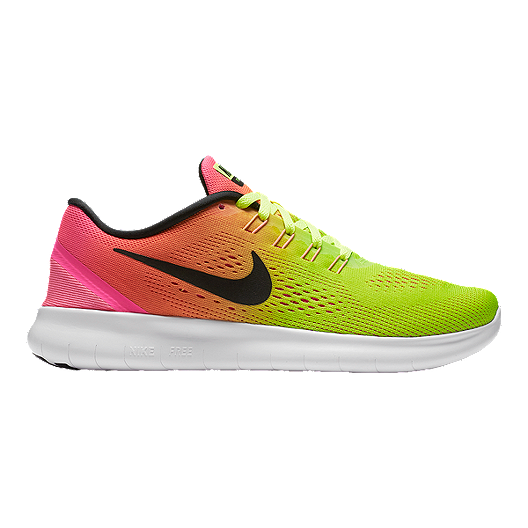 bb0b18f4dd02 Nike Women s Free RN 2016 Unlimited Running Shoes - Volt Green Pink ...