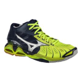 Mizuno Men's Wave Tornado X Mid Indoor Court Shoes - Yellow/Navy