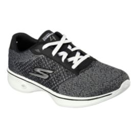Skechers Women's Go Walk 4 Fit Knit Shoes - Black/Heather Grey