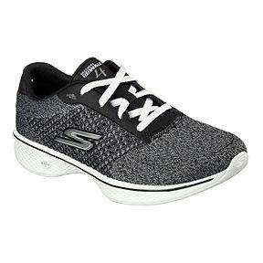 f24a9048d897 Skechers Women s Go Walk 4 Fit Knit Shoes - Black Heather Grey