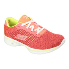 Skechers Women's Go Walk 4 Fit Knit Walking Shoes - Pink/Lime Green/White