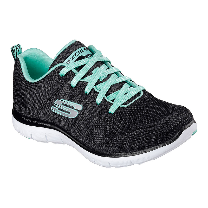 e417319b341c Skechers Women s Flex Appeal 2.0 Fit Knit Walking Shoes - Black White Teal  Blue