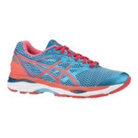 ASICS Women's Gel Cumulus 18 Running Shoes - Blue/Coral Orange/White