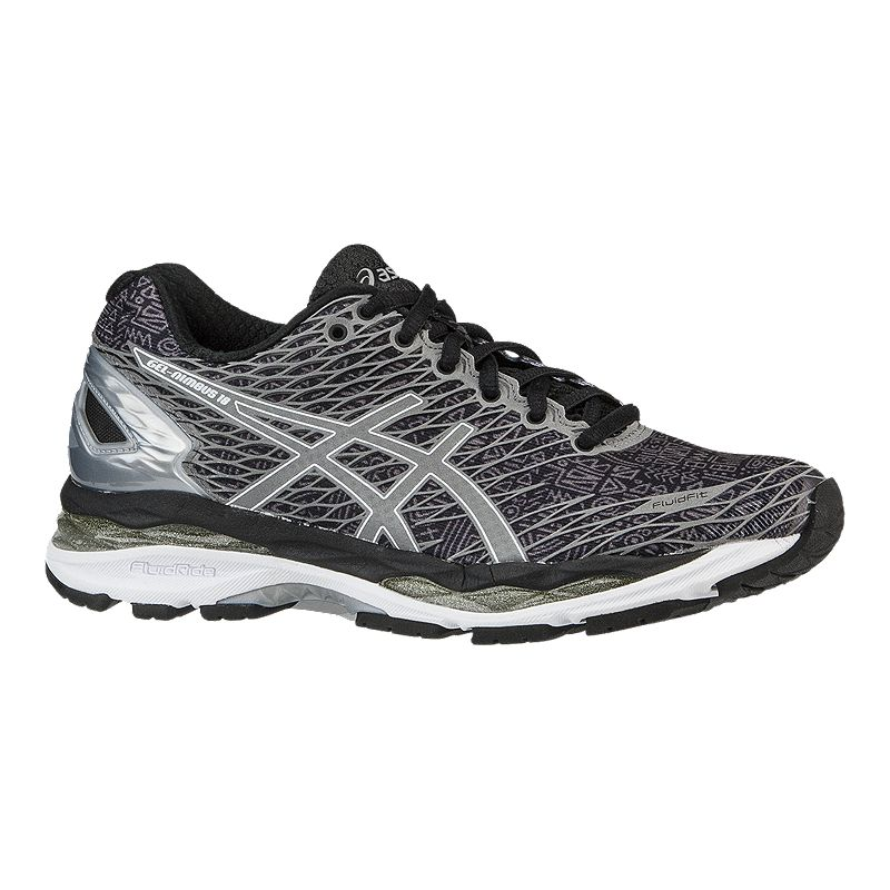 Asics Women S Gel Nimbus  Running Shoes Black Pattern Silver