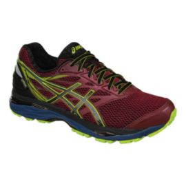 ASICS Men's Gel Cumulus 18 GTX Running Shoes - Dark Red/Blue/Lime Green