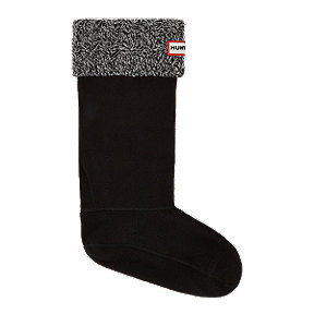 Hunter Women's Six Stitch Cable Rain Boot Socks - Black/Grey