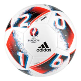 Adidas Euro 16 Glider Soccer Ball Size 5 - White/Bright Blue