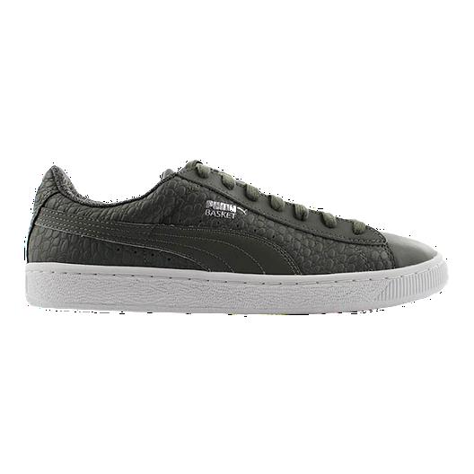 30f17b4a1202 PUMA Men s Basket Classic Textured Shoes - Grey White