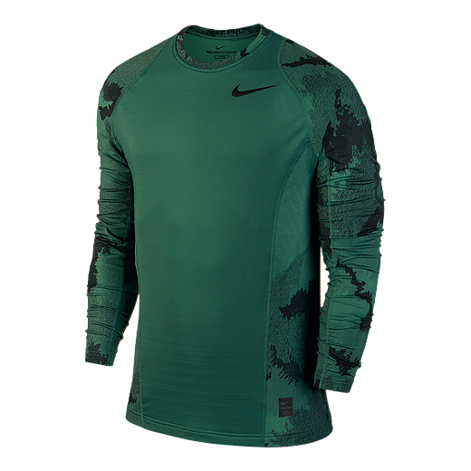 19b358af Nike Pro Hyperwarm All-Over Print Fitted Men's Long Sleeve Top - 340 GREEN  STONE
