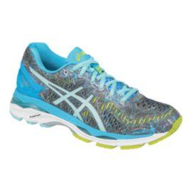 ASICS Women s Gel Kayano 23 Running Shoes - Silver Light Blue Green ... 60452cbf11f6