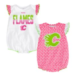 Calgary Flames Pink Polka Fan 2 Piece Baby Girls' Creeper Set