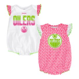 Edmonton Oilers Pink Polka Fan 2 Piece Infant Creeper Set